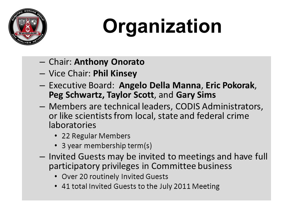 Organization Chair: Anthony Onorato Vice Chair: Phil Kinsey