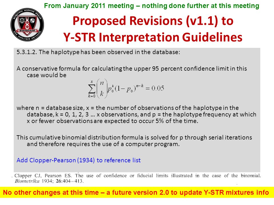 Proposed Revisions (v1.1) to Y-STR Interpretation Guidelines