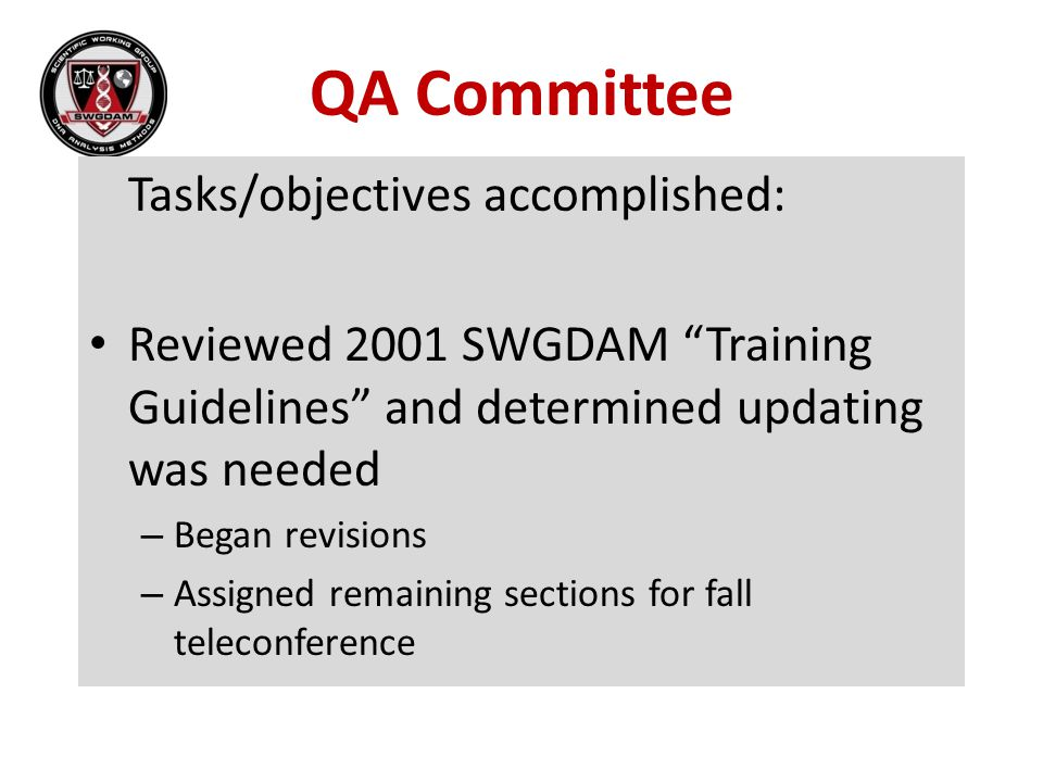 QA Committee Tasks/objectives accomplished: