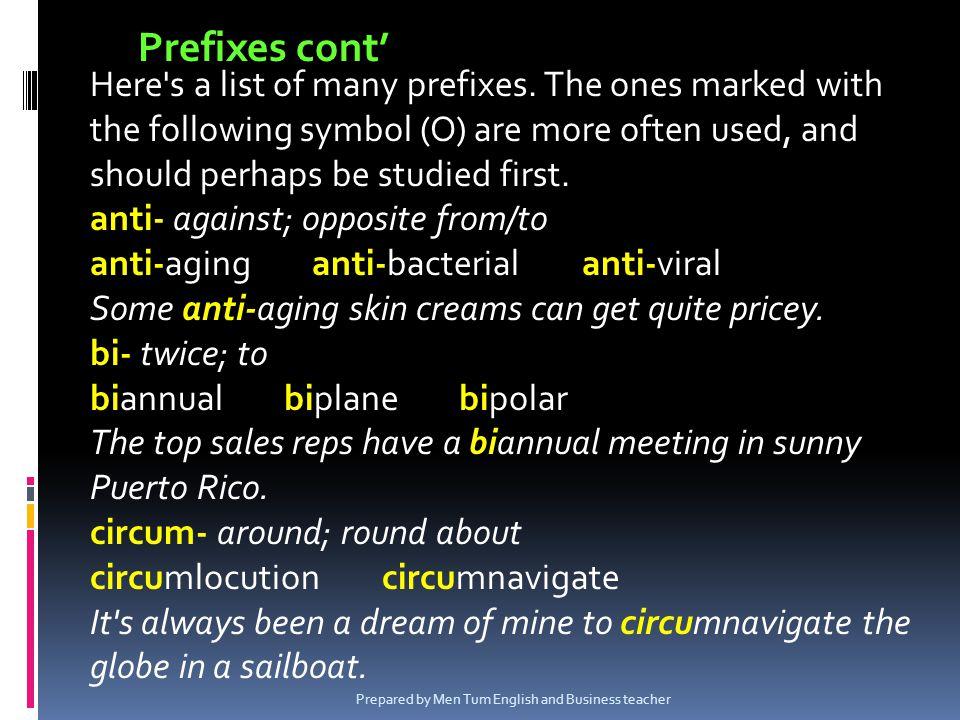 Prefixes cont'