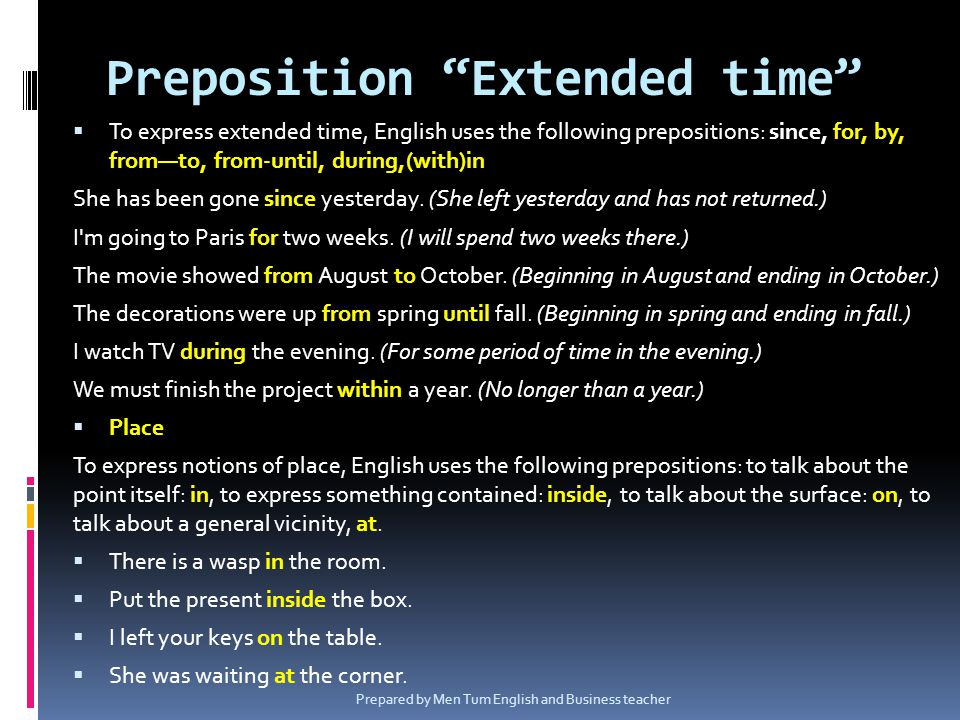 Preposition Extended time