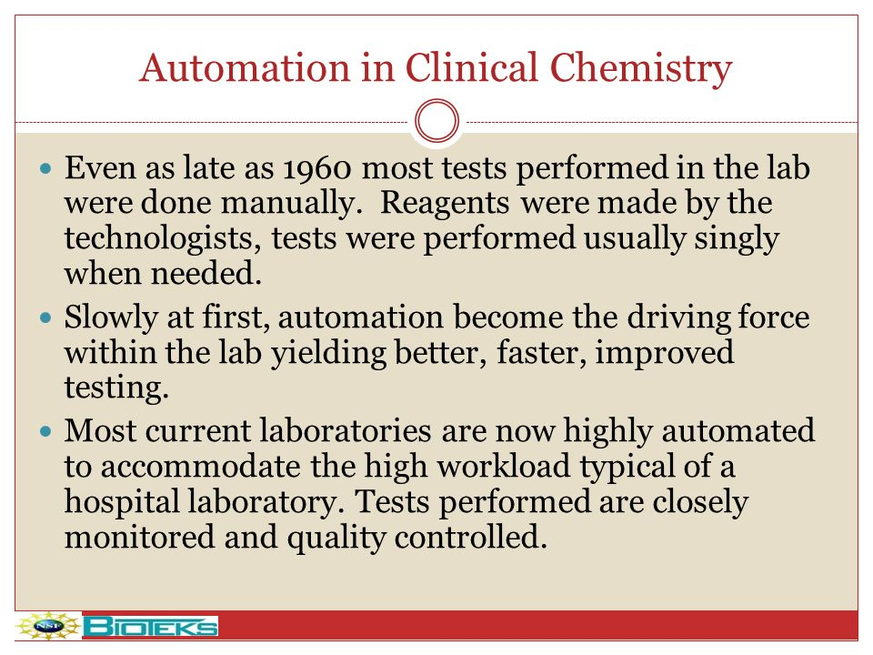 Automation in Clinical Chemistry