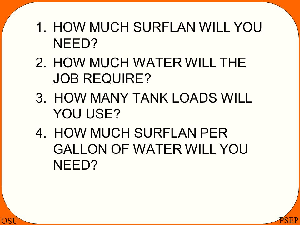 1. HOW MUCH SURFLAN WILL YOU NEED