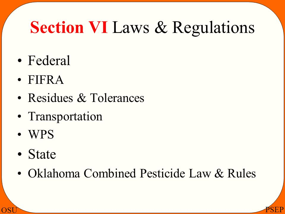 Section VI Laws & Regulations