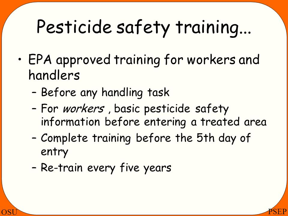 Pesticide safety training...