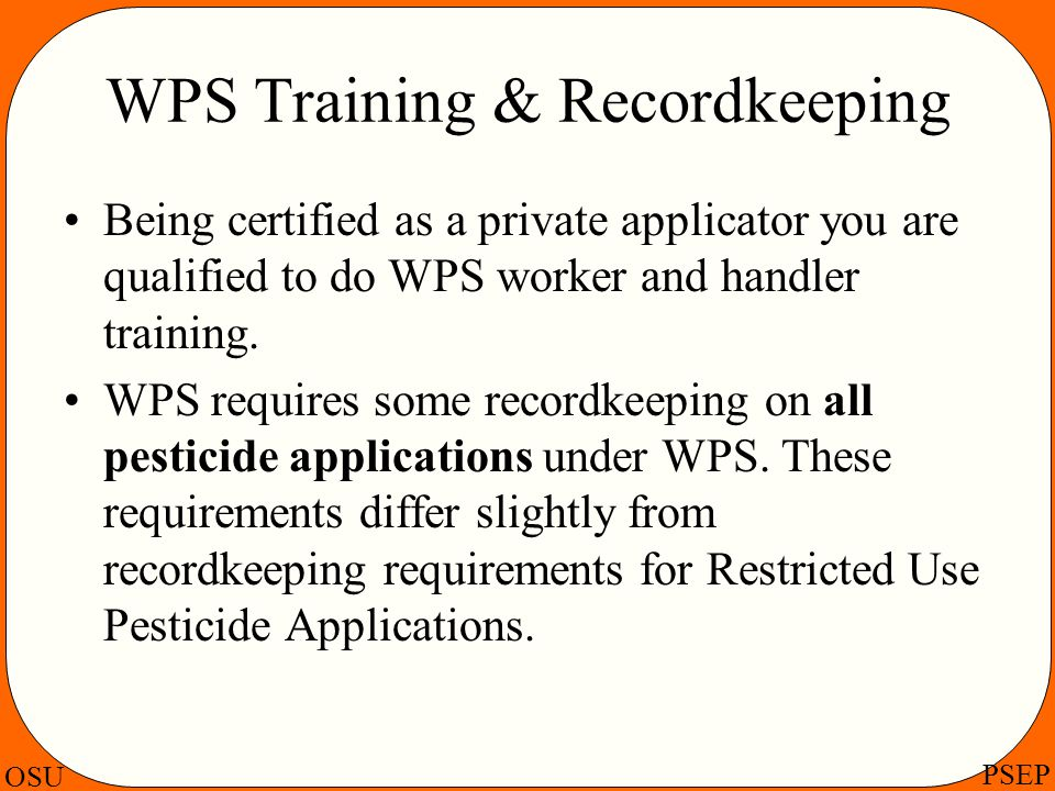 WPS Training & Recordkeeping
