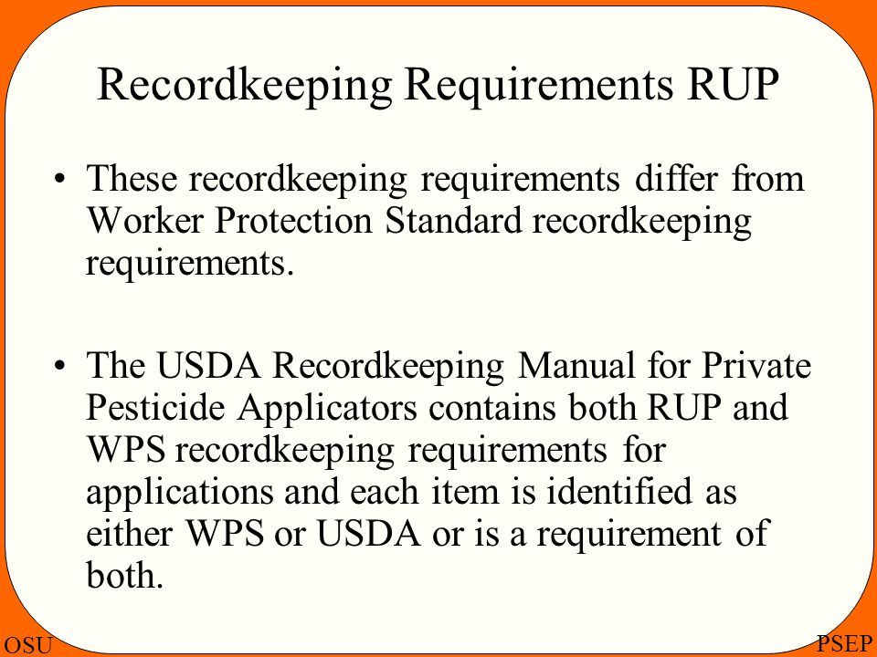 Recordkeeping Requirements RUP