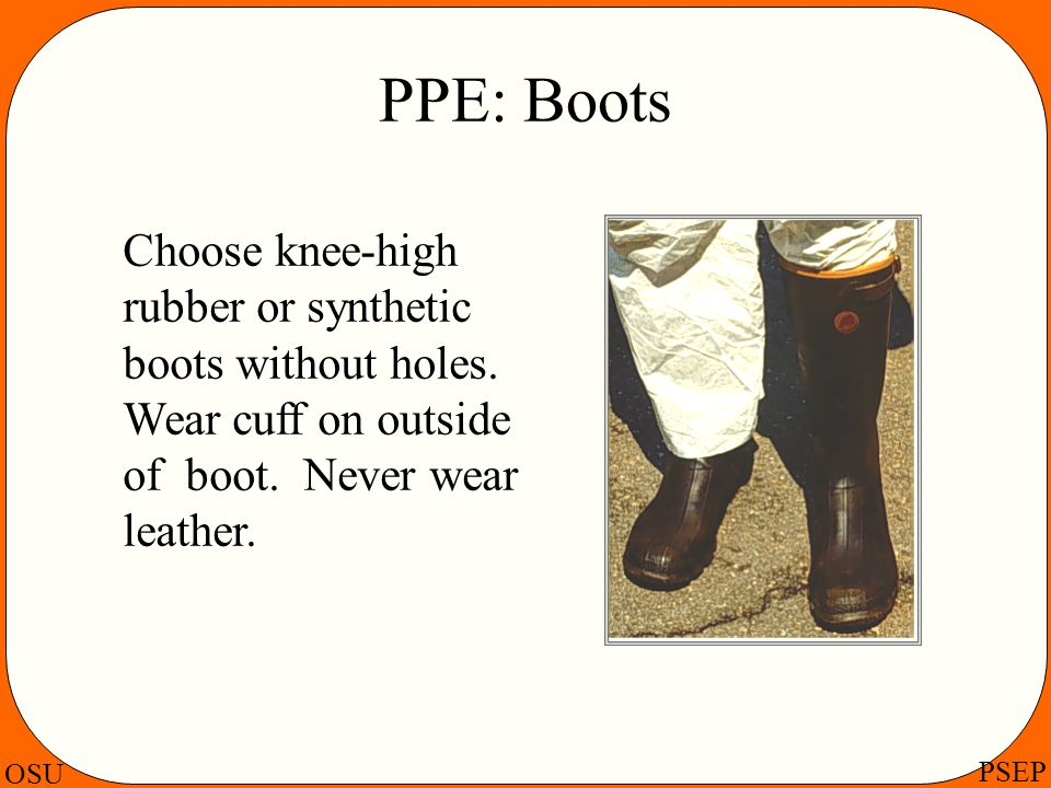 PPE: Boots Choose knee-high