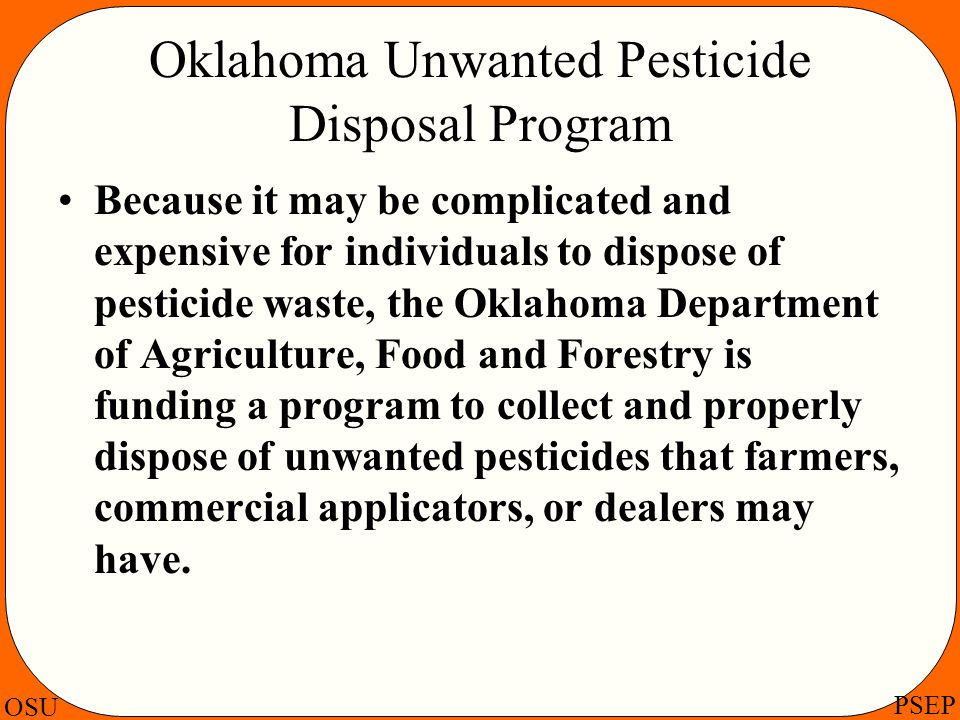Oklahoma Unwanted Pesticide Disposal Program