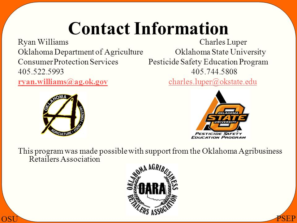 Contact Information Ryan Williams Charles Luper.