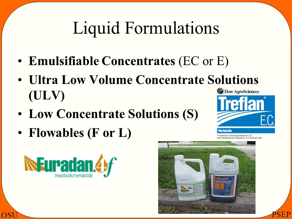 Liquid Formulations Emulsifiable Concentrates (EC or E)