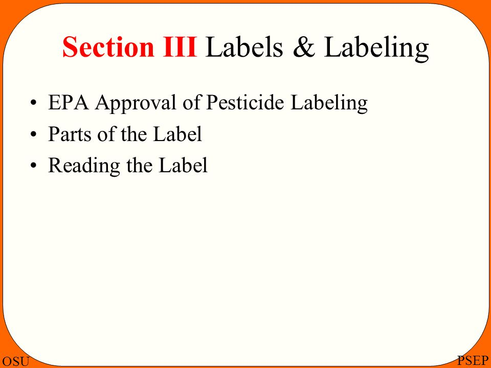 Section III Labels & Labeling