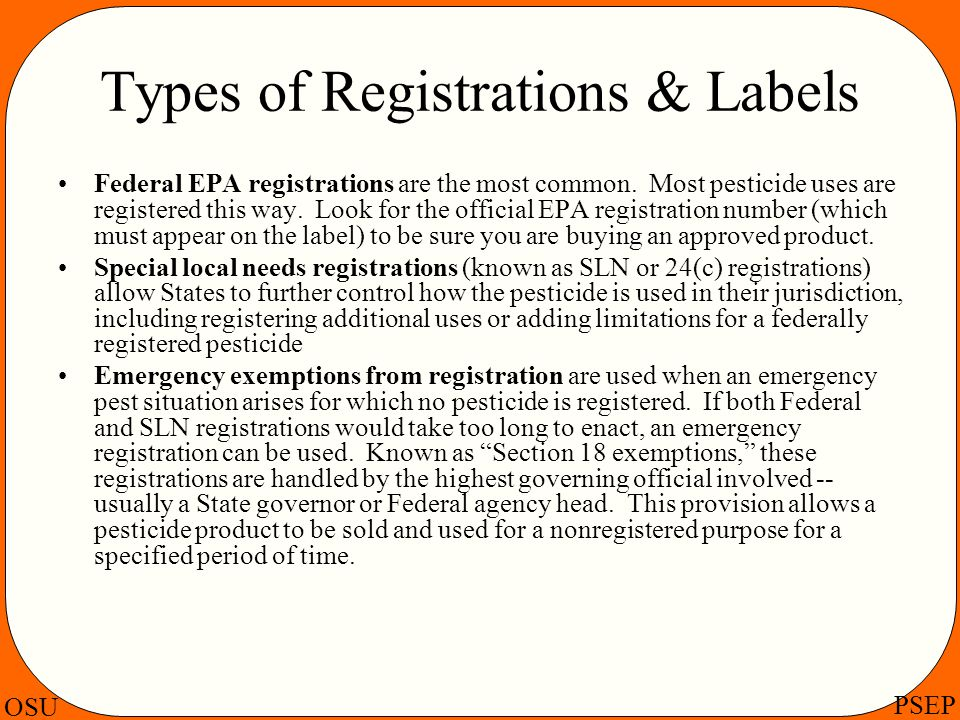 Types of Registrations & Labels
