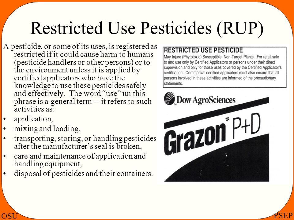 Restricted Use Pesticides (RUP)
