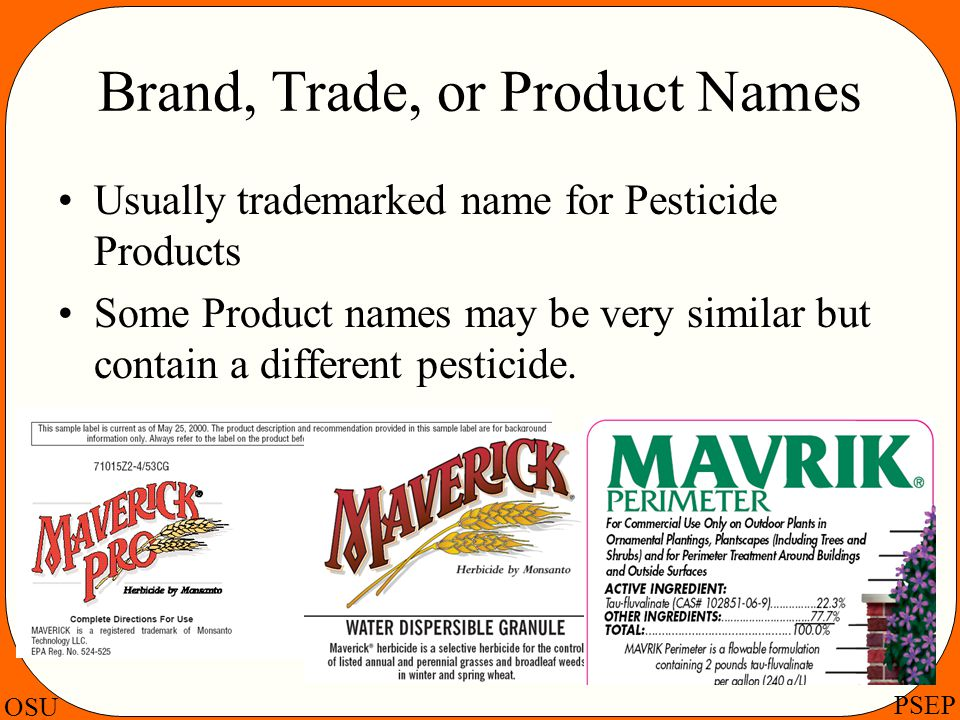 Brand, Trade, or Product Names