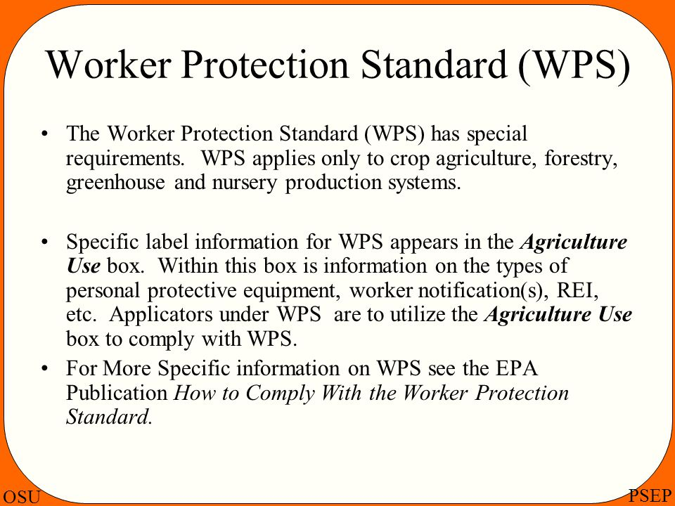 Worker Protection Standard (WPS)
