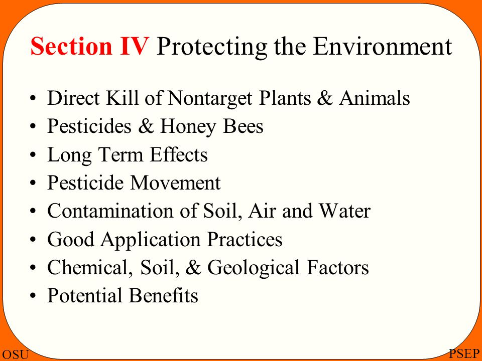Section IV Protecting the Environment