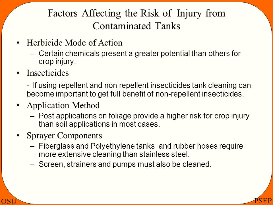 Factors Affecting the Risk of Injury from Contaminated Tanks
