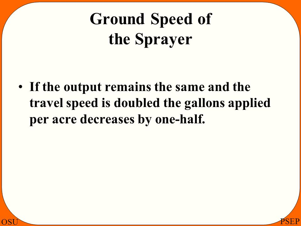 Ground Speed of the Sprayer