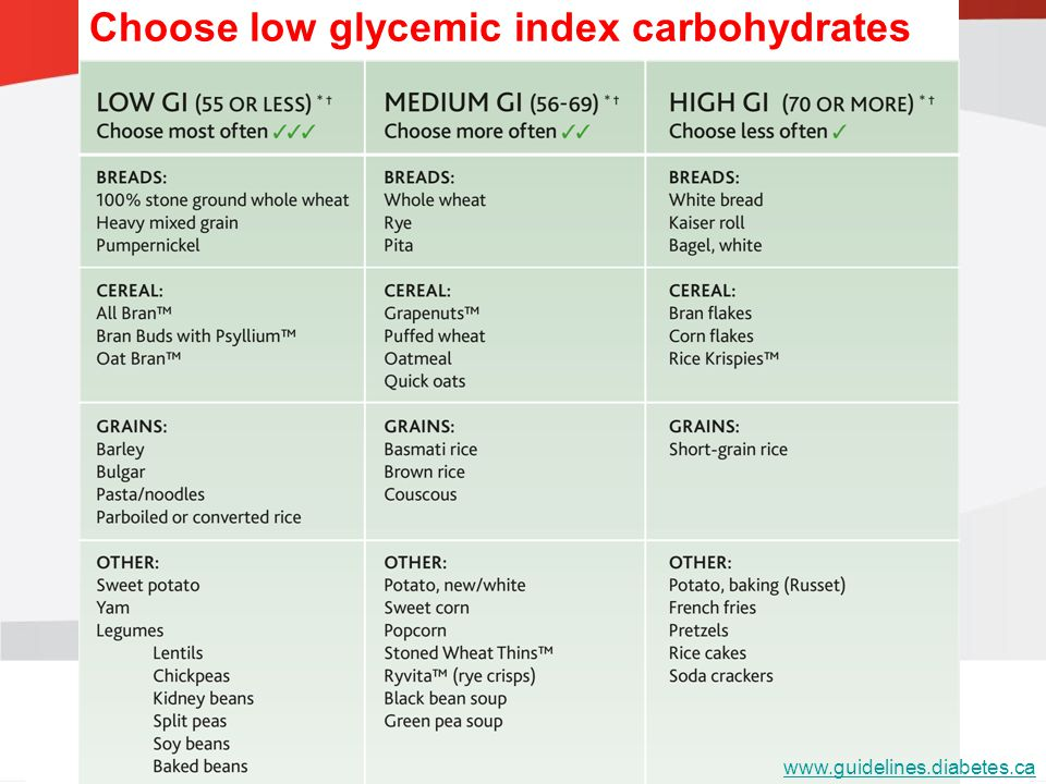 Choose low glycemic index carbohydrates