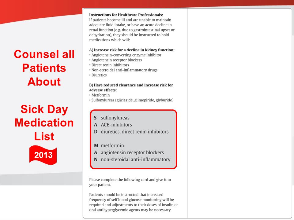 Counsel all Patients About Sick Day Medication List