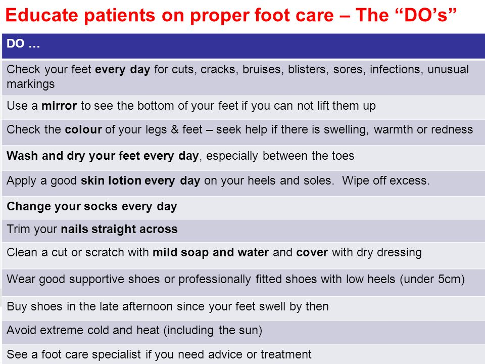 Educate patients on proper foot care – The DO's