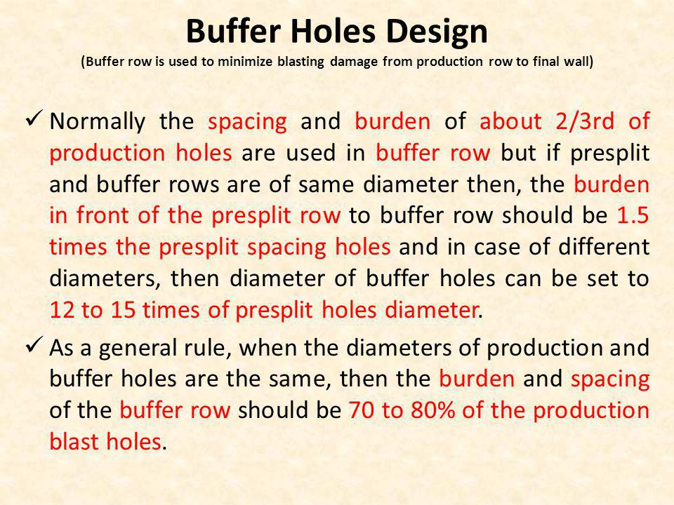 Buffer Holes Design (Buffer row is used to minimize blasting damage from production row to final wall)