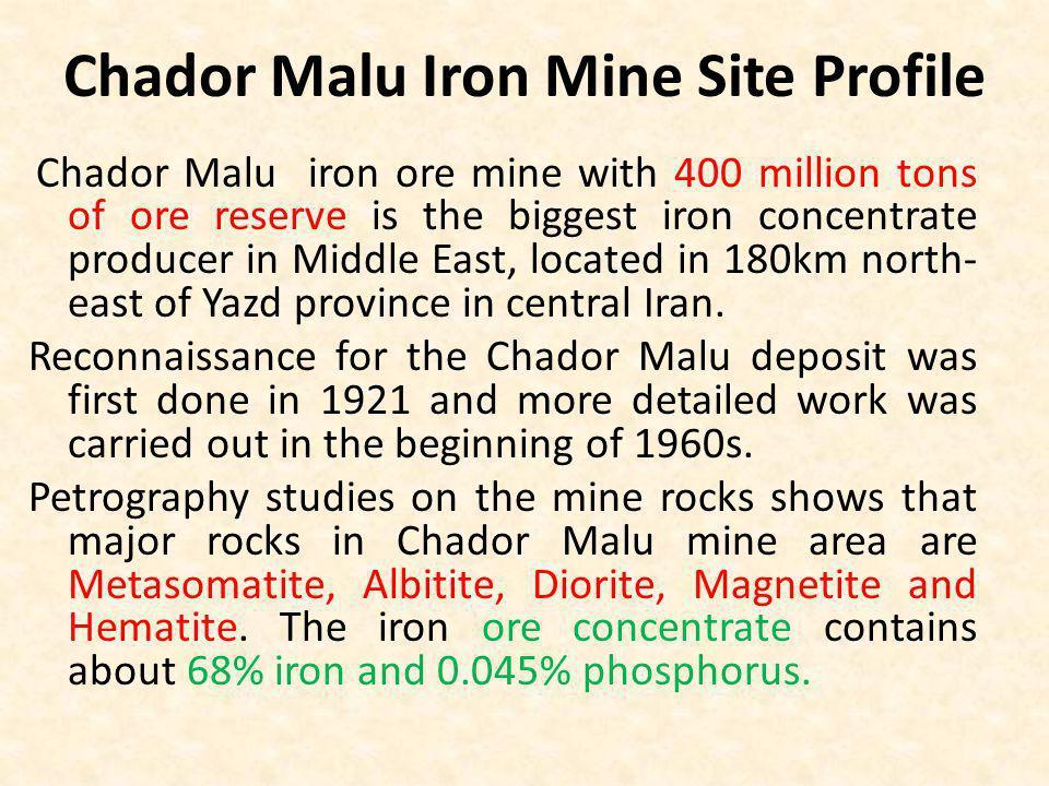 Chador Malu Iron Mine Site Profile