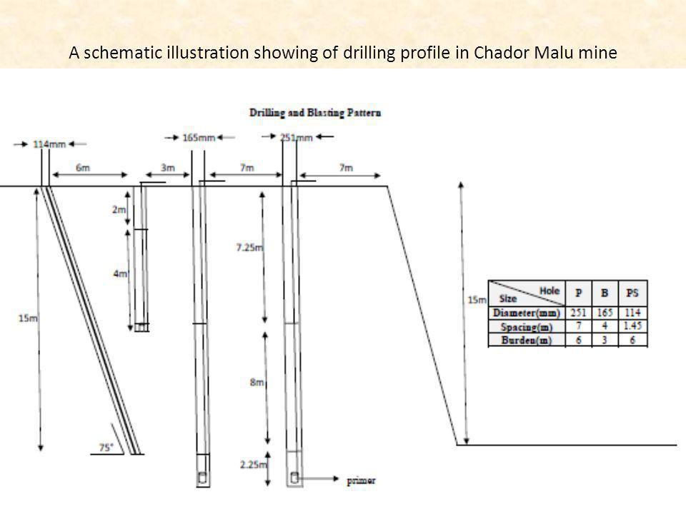 A schematic illustration showing of drilling profile in Chador Malu mine