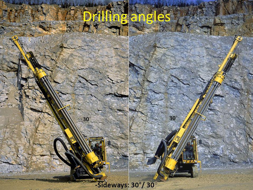 Drilling angles 30° 30° -Sideways: 30°/ 30°