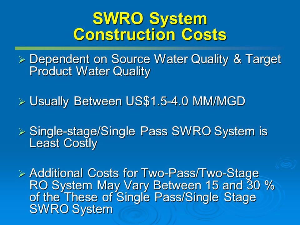 SWRO System Construction Costs