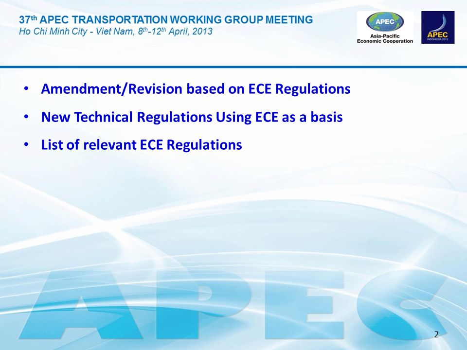 Amendment/Revision based on ECE Regulations
