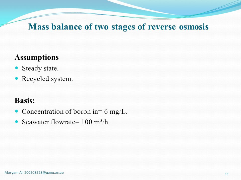 Mass balance of two stages of reverse osmosis