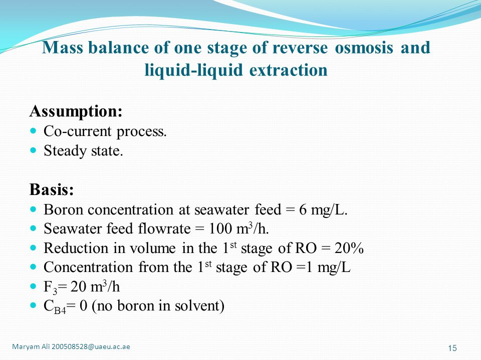 Mass balance of one stage of reverse osmosis and liquid-liquid extraction