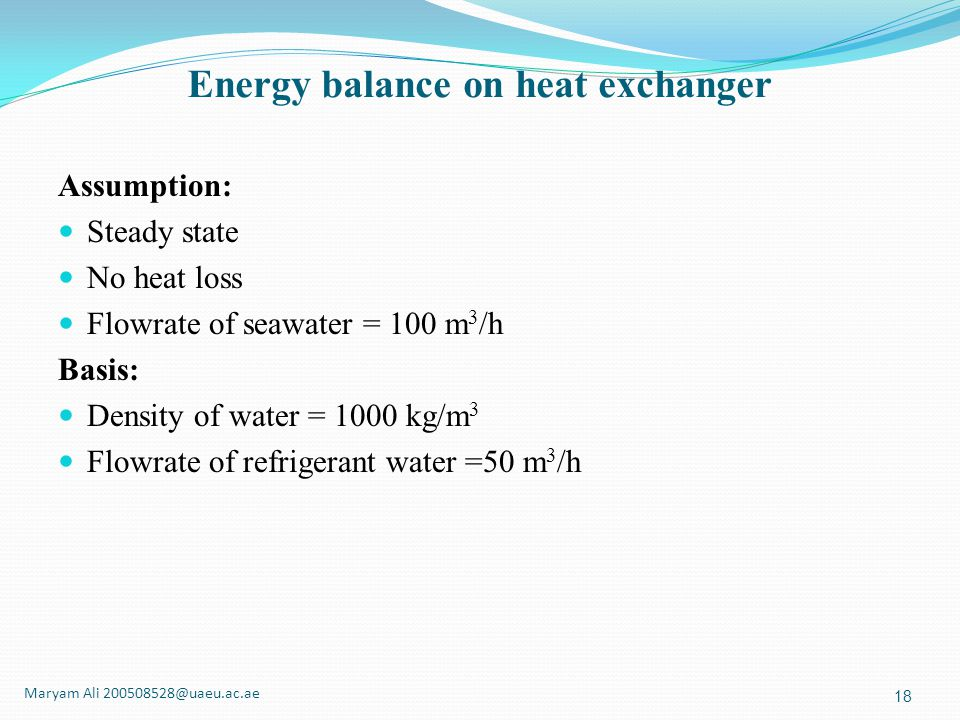 Energy balance on heat exchanger