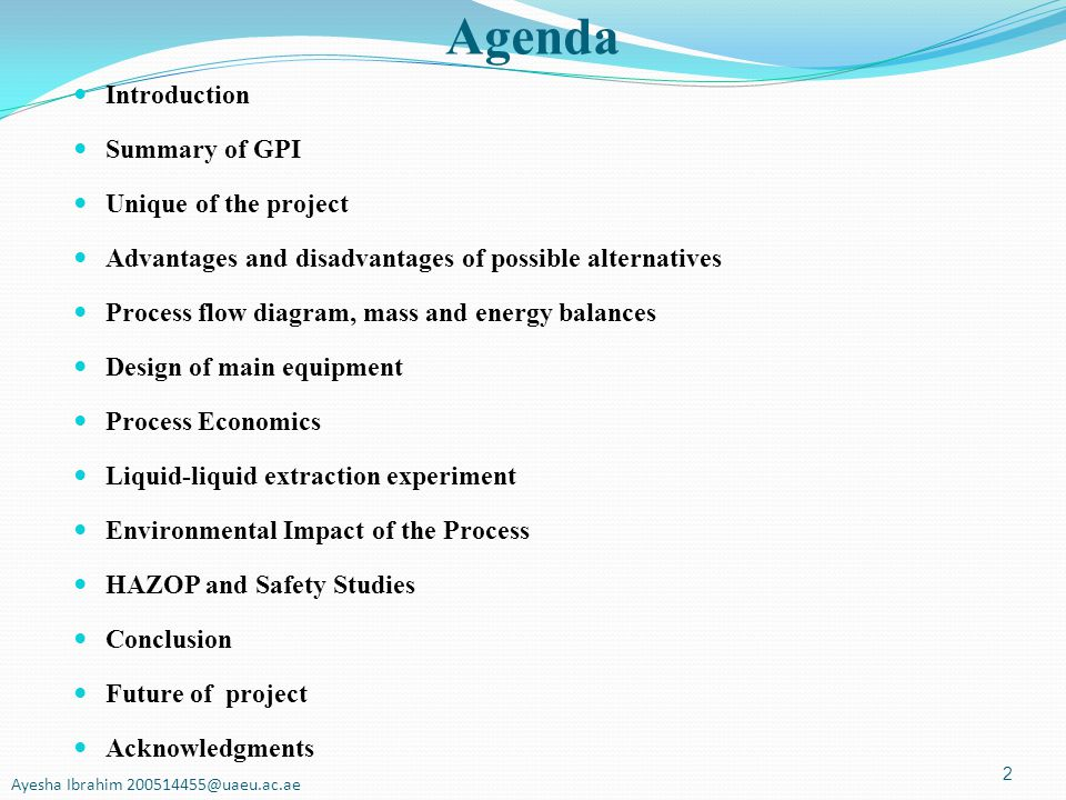 Agenda Introduction Summary of GPI Unique of the project