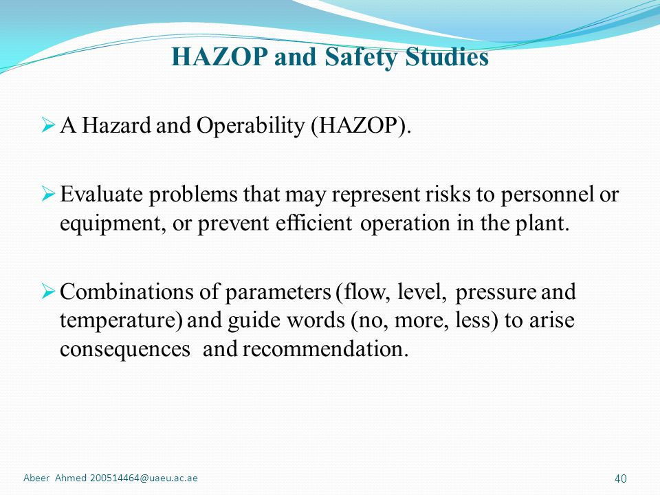 HAZOP and Safety Studies