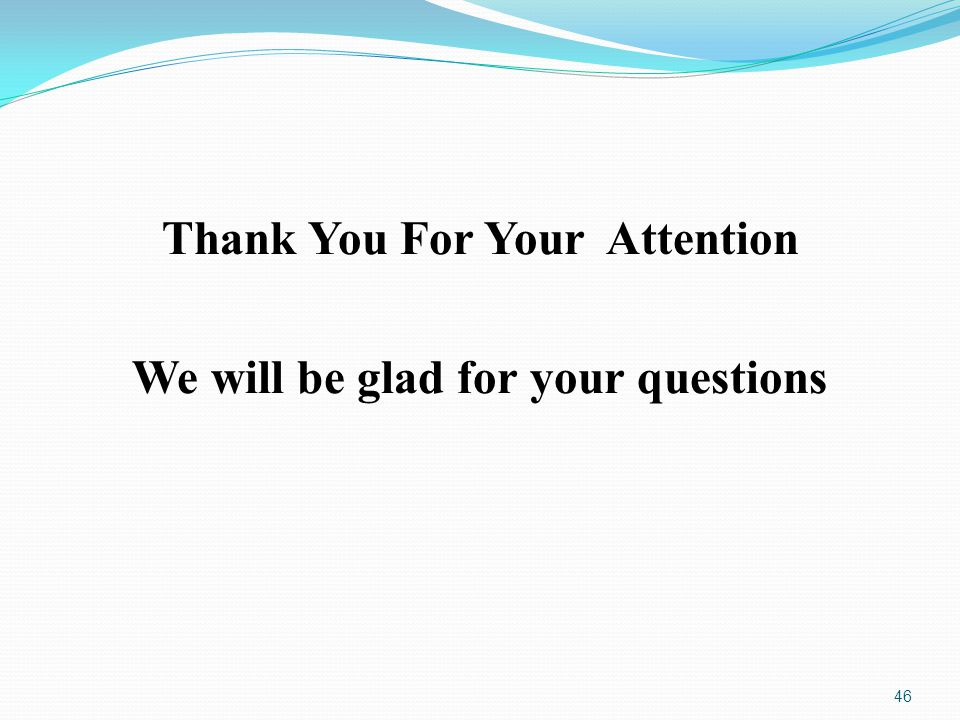 Thank You For Your Attention We will be glad for your questions