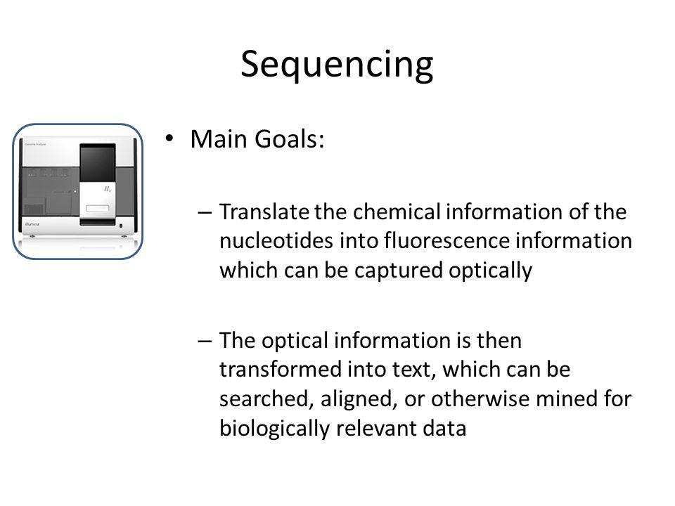 Sequencing Main Goals: