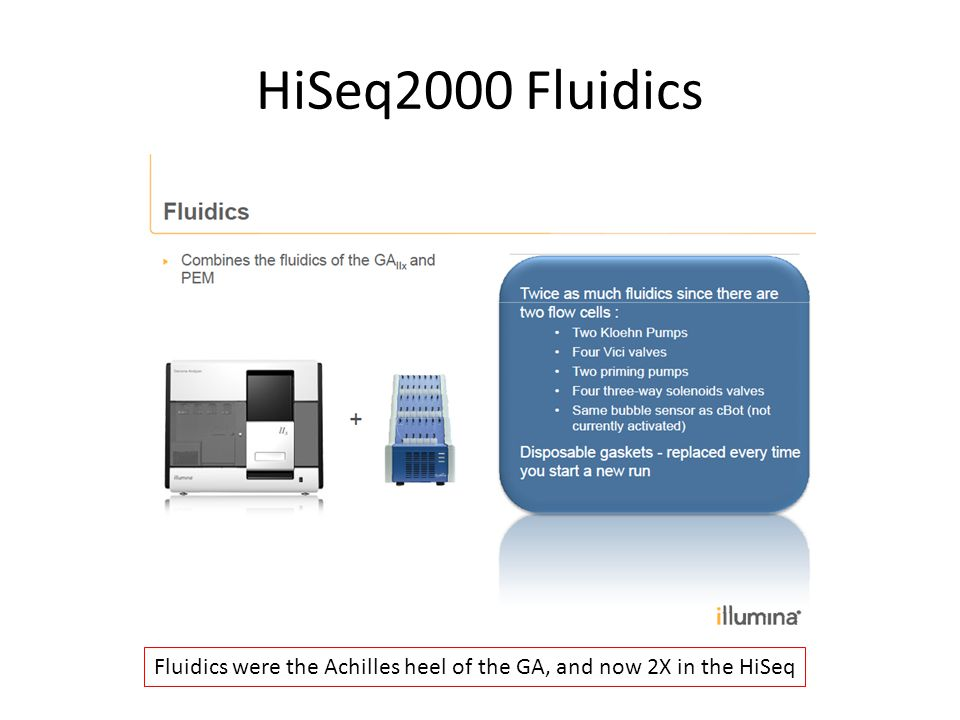 HiSeq2000 Fluidics Fluidics were the Achilles heel of the GA, and now 2X in the HiSeq