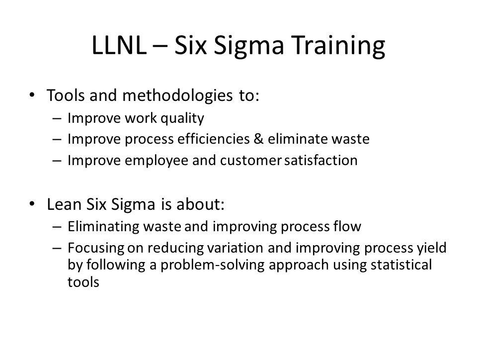 LLNL – Six Sigma Training