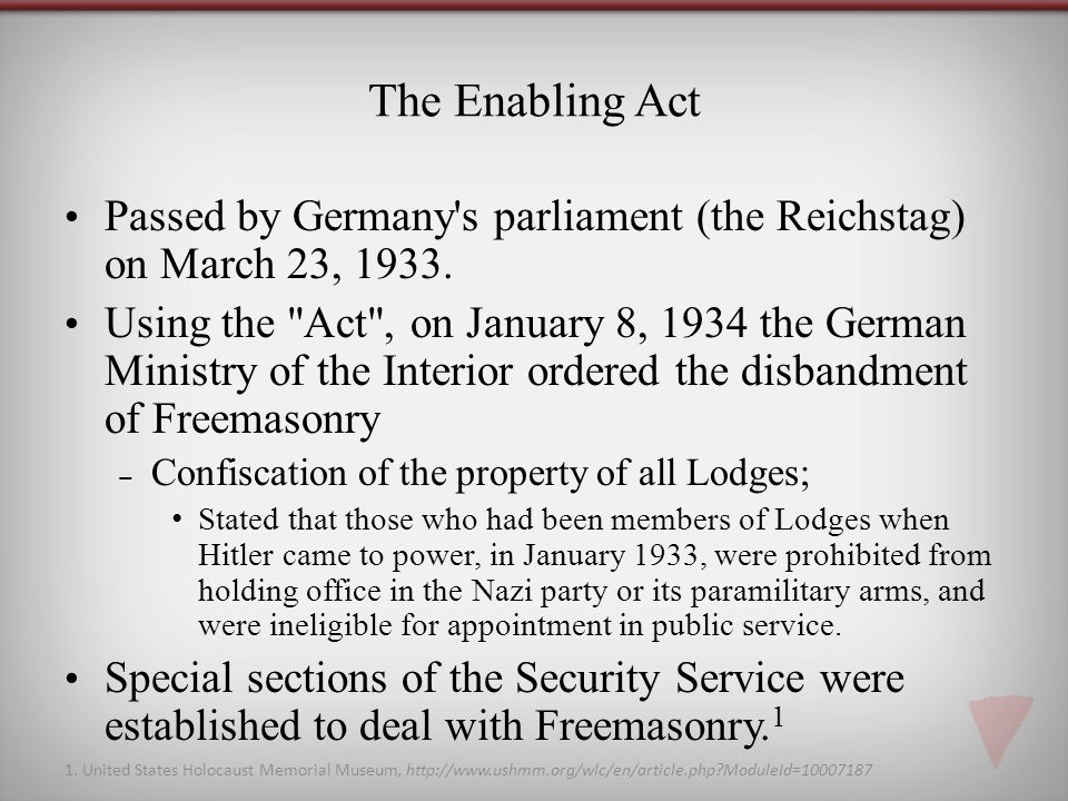 The Enabling Act Passed by Germany s parliament (the Reichstag) on March 23, 1933.