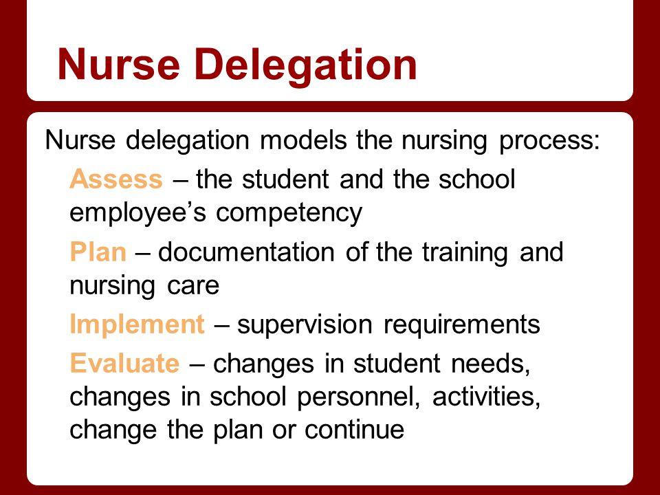 Nurse Delegation Nurse delegation models the nursing process: