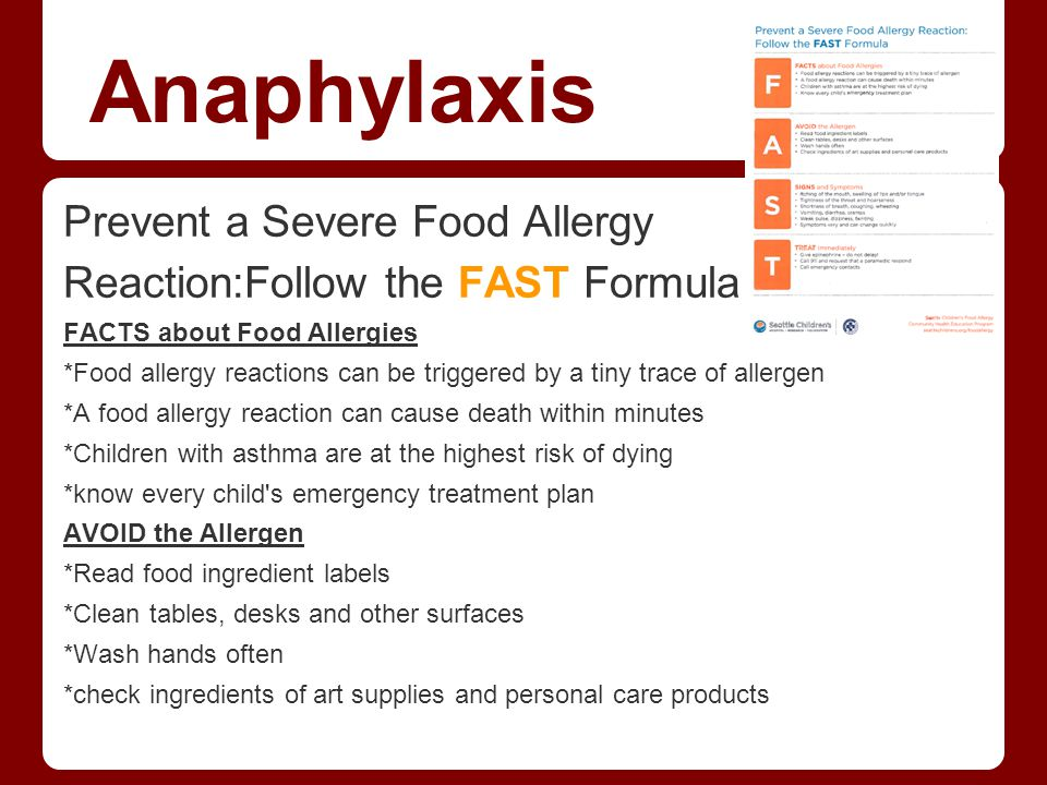 Anaphylaxis Prevent a Severe Food Allergy
