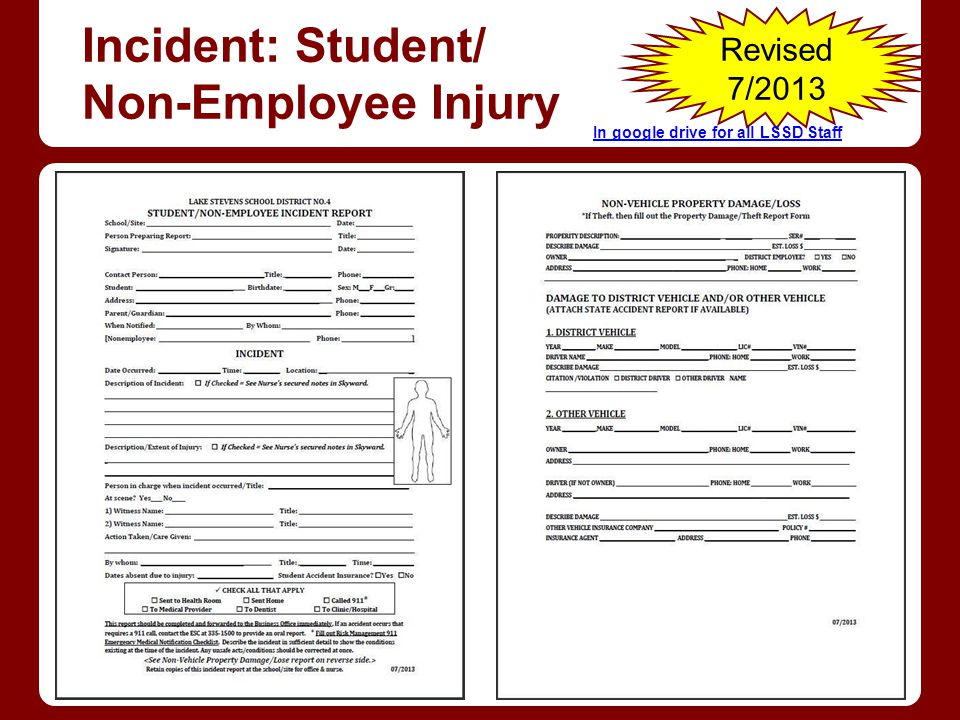 Incident: Student/ Non-Employee Injury