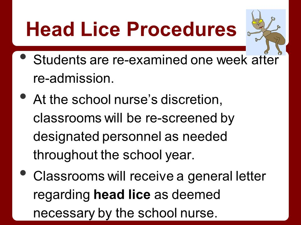 Head Lice Procedures Students are re-examined one week after re-admission.