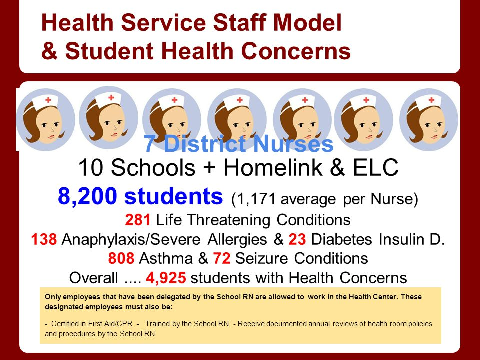 Health Service Staff Model & Student Health Concerns