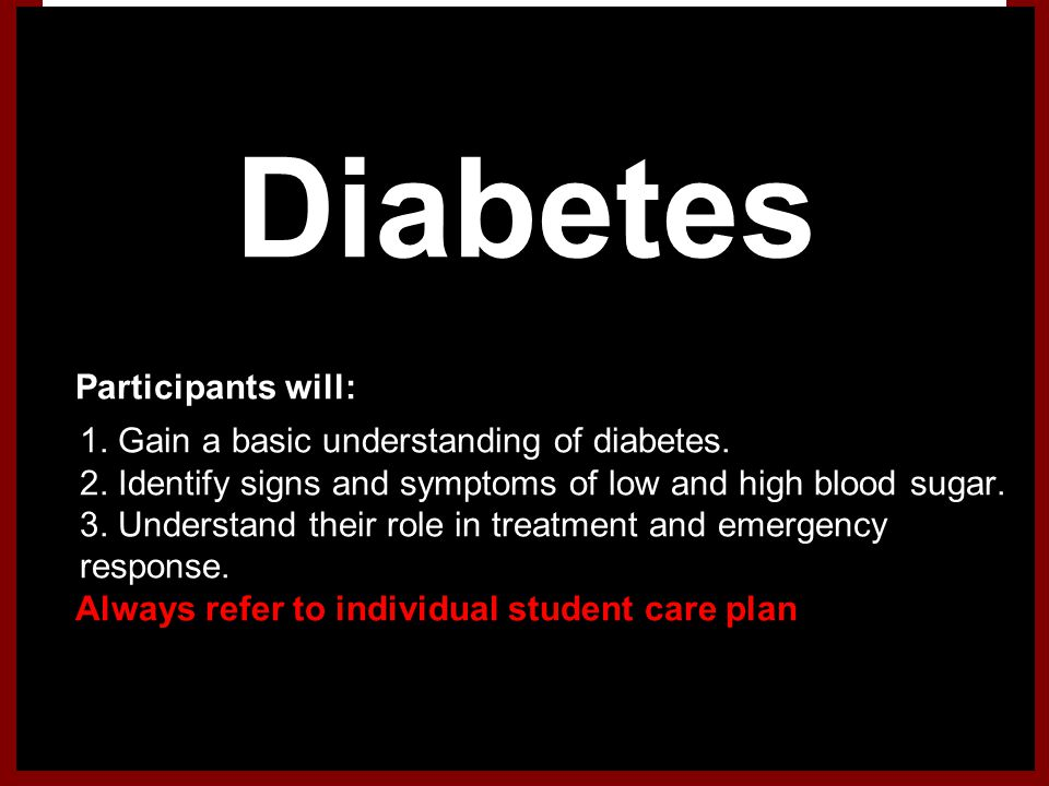 Diabetes Participants will: 1. Gain a basic understanding of diabetes.