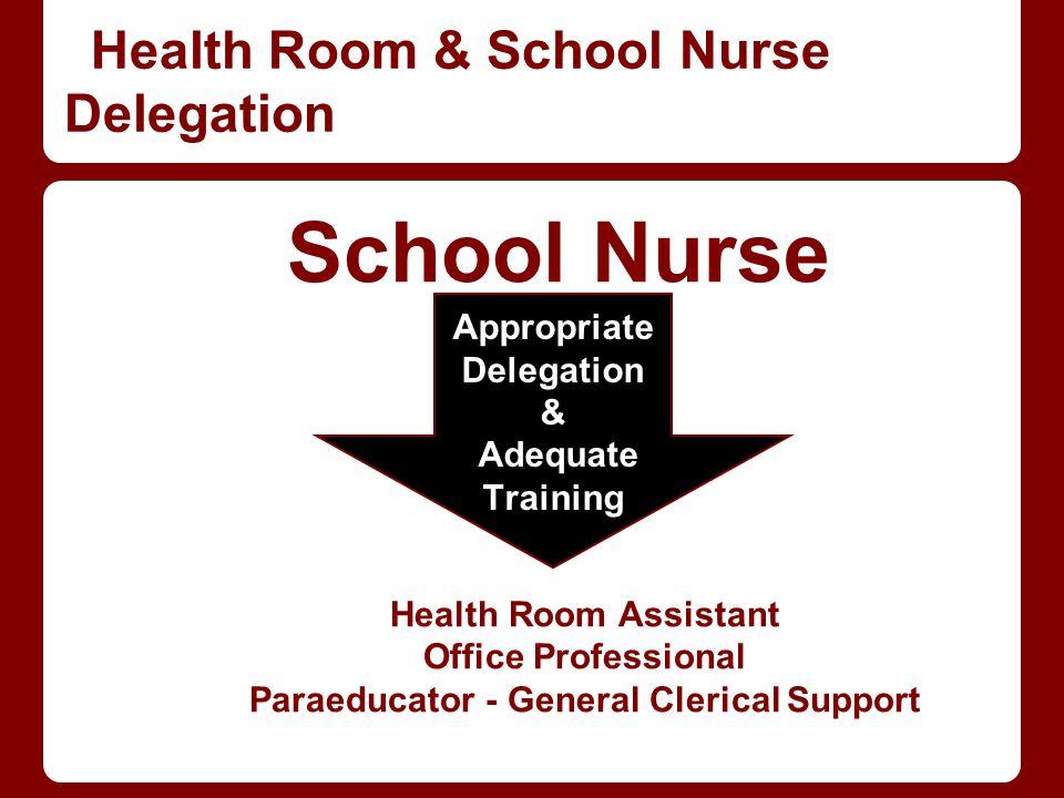 Health Room & School Nurse Delegation