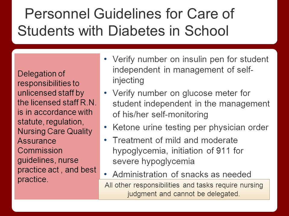 Personnel Guidelines for Care of Students with Diabetes in School